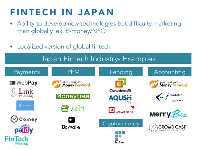 FINTECH IN JAPAN  • Ability to develop new technologies but difficulty marketing  than globally ex. E-money/NFC  • Localiz...