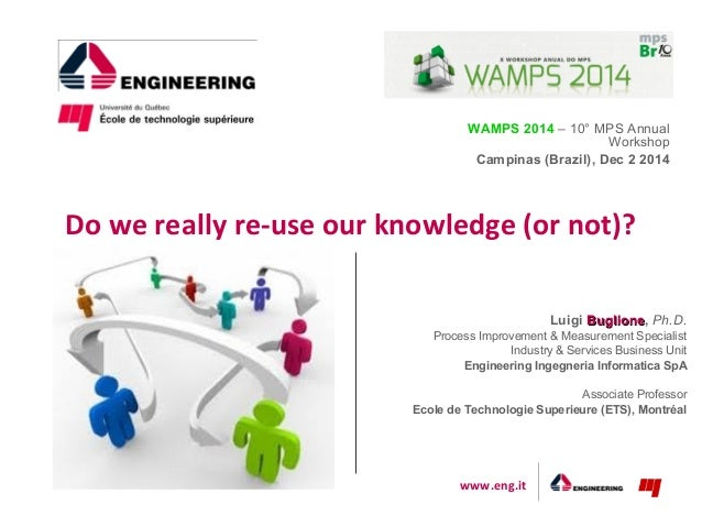 www.eng.it WAMPS 2014 – 10° MPS Annual Workshop Campinas (Brazil), Dec 2 2014 Do we really re-use our knowledge (or not)? ...