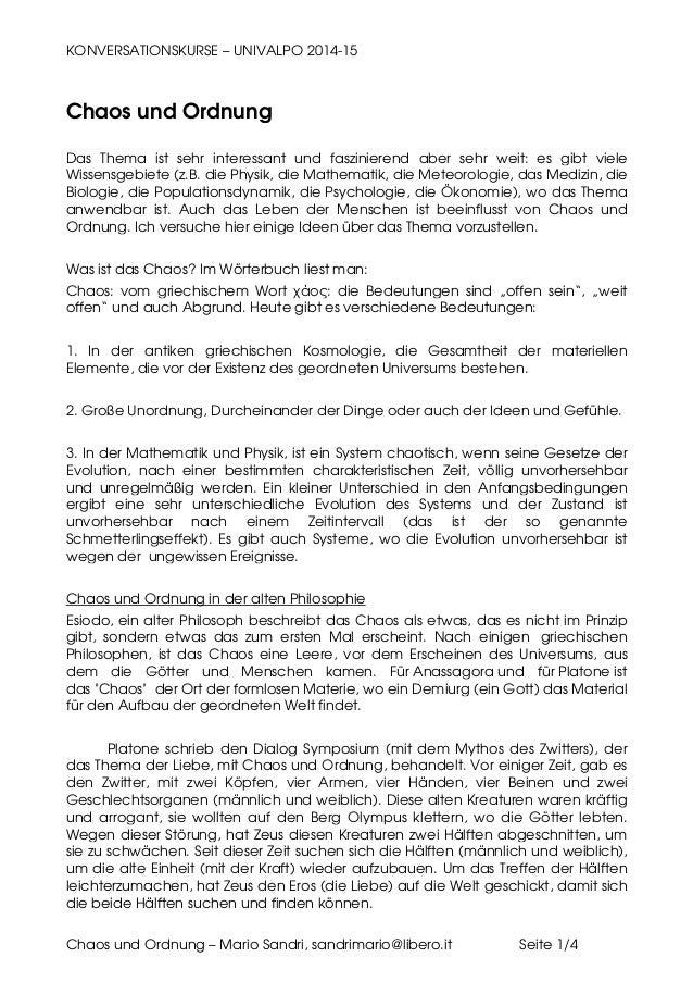 KONVERSATIONSKURSE – UNIVALPO 2014-15 Chaos und Ordnung – Mario Sandri, sandrimario@libero.it Seite 1/4 Chaos und Ordnung ...