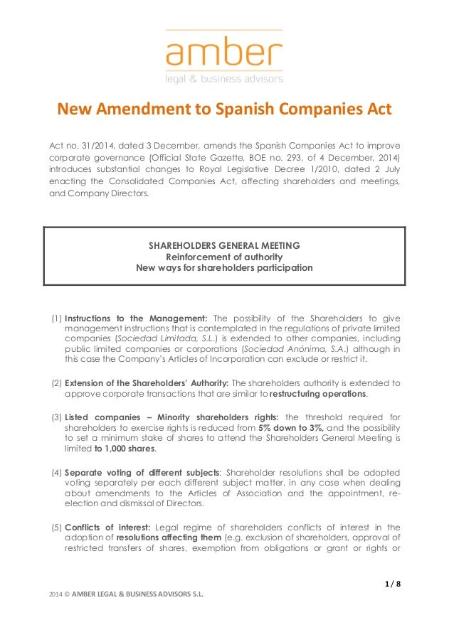 New Amendment To Spanish Companies Act Act No 31  December