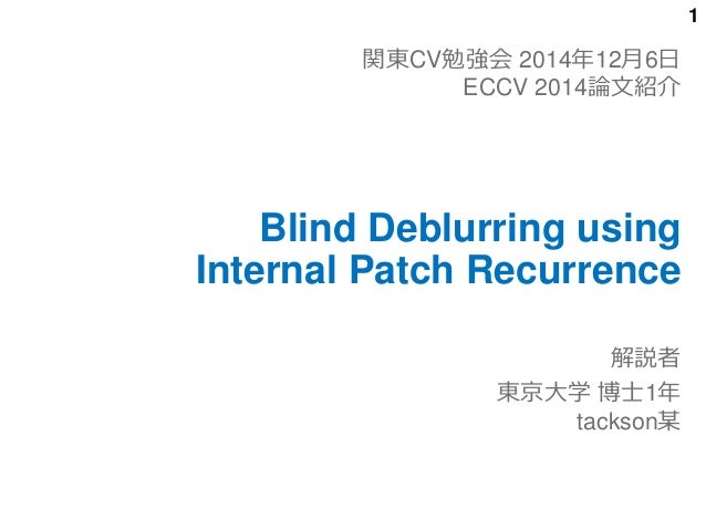 u95a2 u6771cv u52c9 u5f37 u4f1aeccv2014  uff08blind deblurring using internal patch recurrence uff09