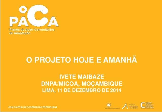 O PROJETO HOJE E AMANHÃ  COM O APOIO DA COOPERAÇÃO PORTUGUESA  IVETE MAIBAZE  DNPA/MICOA, MOÇAMBIQUE  LIMA, 11 DE DEZEMBRO...