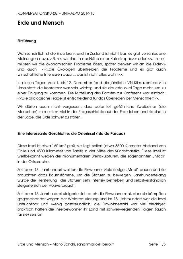 KONVERSATIONSKURSE – UNIVALPO 2014-15 Erde und Mensch – Mario Sandri, sandrimario@libero.it Seite 1 /5 Erde und Mensch Ein...
