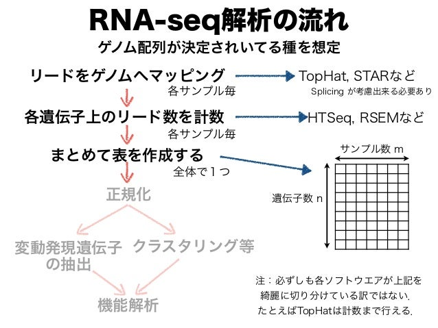 RNA-seq解析の流れ リードをゲノムへマッピング TopHat, STARなど 各遺伝子上のリード数を計数 HTSeq, RSEMなど 遺伝子数 n サンプル数 m 各サンプル毎 各サンプル毎 まとめて表を作成する 全体で1つ ゲノム配列が...
