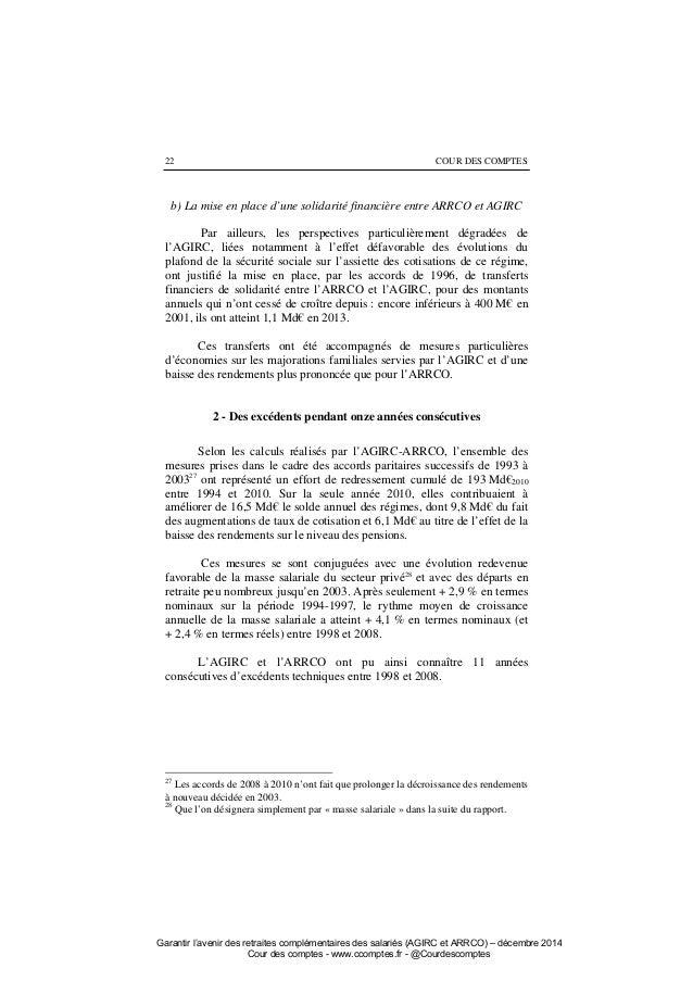 Rapport cour des comptes 2014 sur l 39 agirc et l 39 arrco - Plafond securite sociale 2008 ...