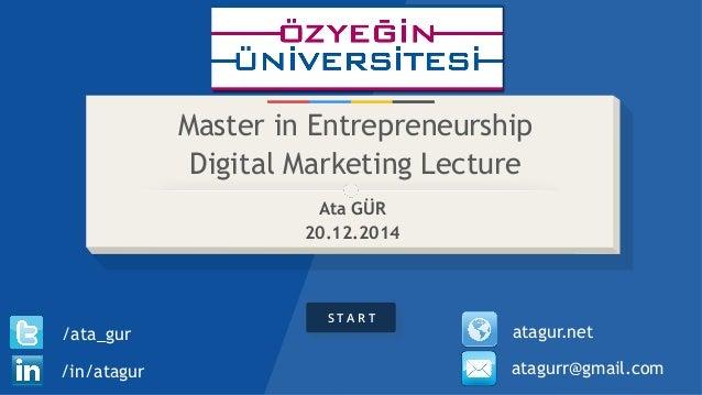 S T A R T Master in Entrepreneurship Digital Marketing Lecture Ata GÜR 20.12.2014 /in/atagur /ata_gur atagurr@gmail.com at...
