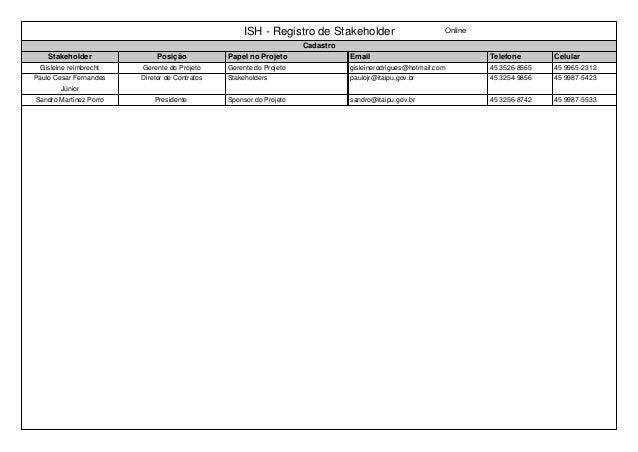 ISH - Registro de Stakeholder Online Cadastro Stakeholder Posição Papel no Projeto Email Telefone Celular Gisleine reimbre...