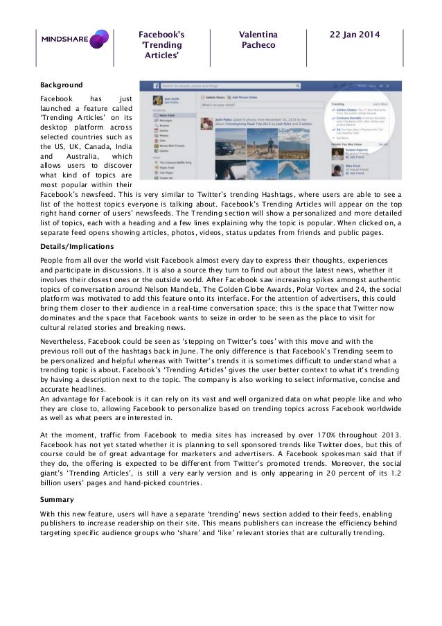 Facebook's 'Trending Articles'  Valentina Pacheco  22 Jan 2014  Background Facebook has just launched a feature called 'Tr...