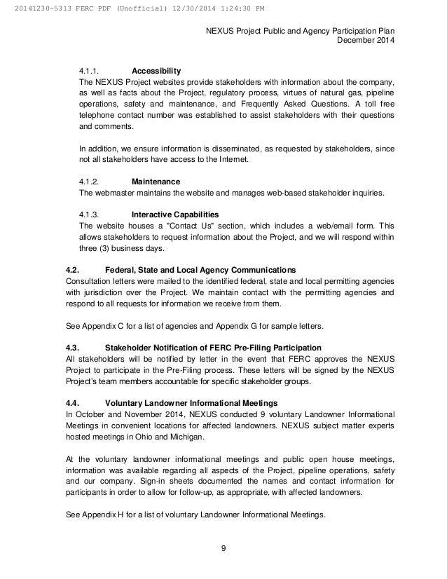 Nexus gas transmission ferc pre filing dec 30 2014 for Va nexus letter template