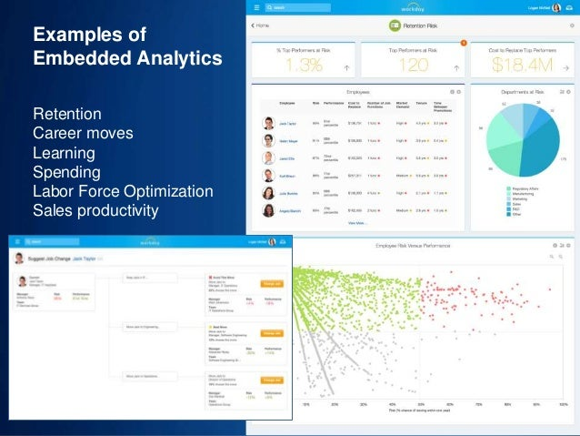 34 Examples of Embedded Analytics Retention Career moves Learning Spending Labor Force Optimization Sales productivity