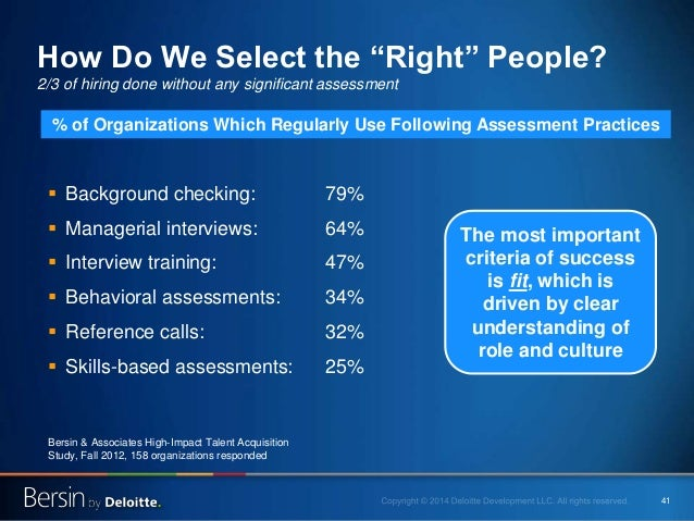 """41 How Do We Select the """"Right"""" People? 2/3 of hiring done without any significant assessment  Background checking: 79% ..."""