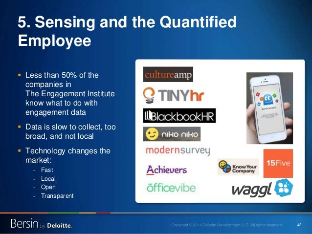 42 5. Sensing and the Quantified Employee  Less than 50% of the companies in The Engagement Institute know what to do wit...