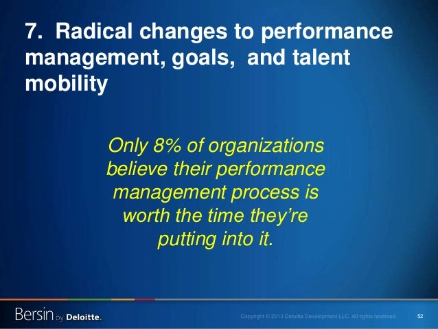 52 7. Radical changes to performance management, goals, and talent mobility Only 8% of organizations believe their perform...