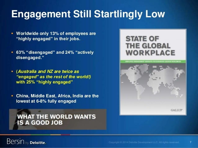 """7 Engagement Still Startlingly Low  Worldwide only 13% of employees are """"highly engaged"""" in their jobs.  63% """"disengaged..."""