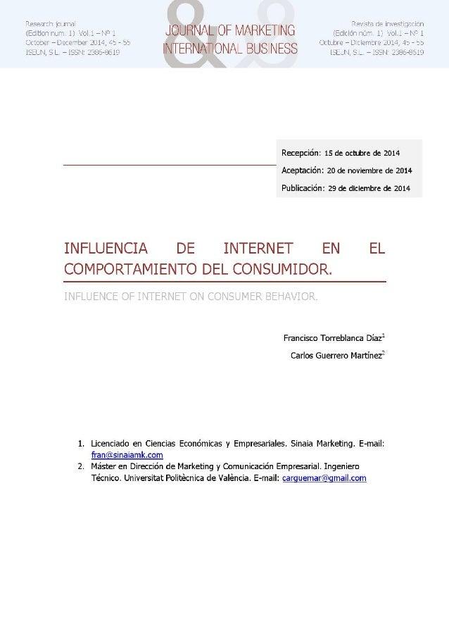 Influencia de internet en el comportamiento del consumidor