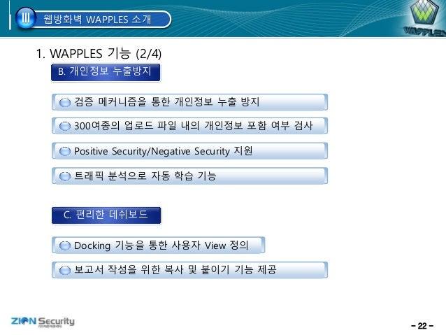 - 22 - A. 침입 방지 1. WAPPLES 기능 (2/4) 검증 메커니즘을 통한 개인정보 누출 방지 300여종의 업로드 파일 내의 개인정보 포함 여부 검사 Positive Security/Negative Secur...