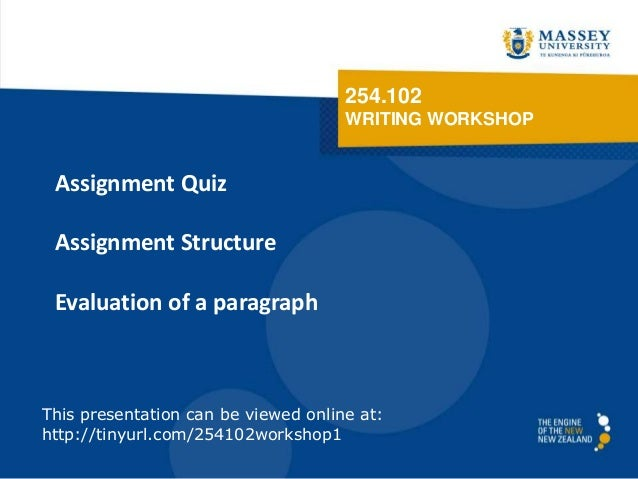 254.102 WRITING WORKSHOP Assignment Quiz Assignment Structure Evaluation of a paragraph This presentation can be viewed on...