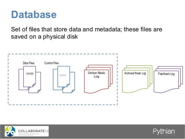 Database 101010 Online Redo Log 10100 Data Files Control Files Set of files that store data and metadata; these files are ...