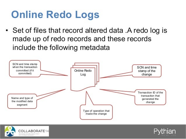 • Set of files that record altered data .A redo log is made up of redo records and these records include the following me...