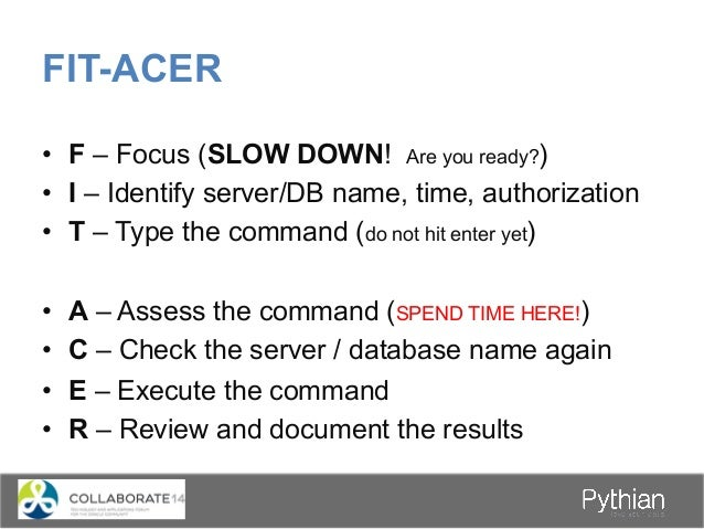 Pythian at Collaborate 2014 Session ID Session Date Start Time Session Room Session Title Presenter Name 157 4/9/2014 8:30...