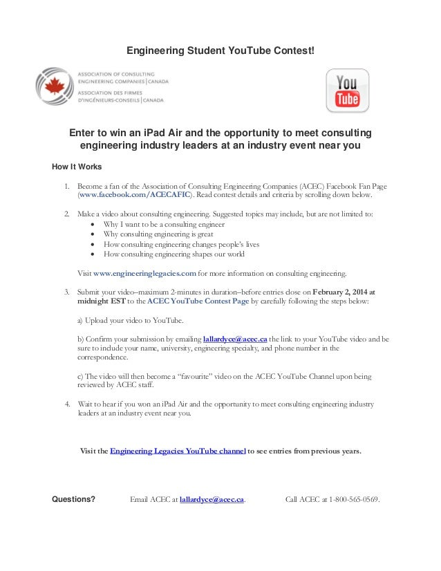 2014 acec student youtube contest instructions