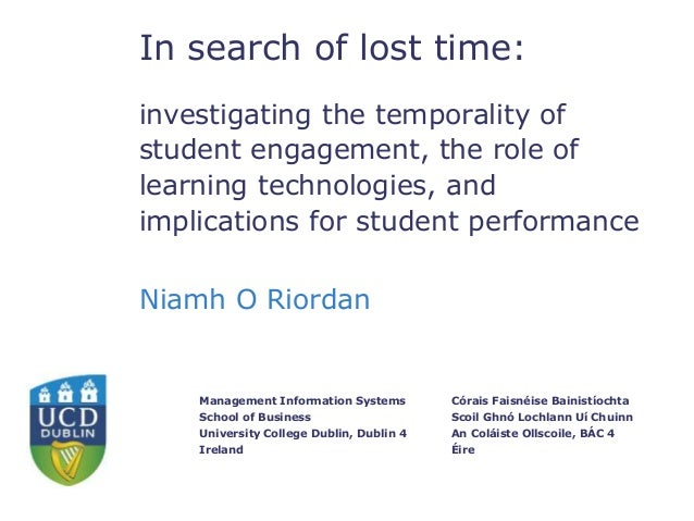 In search of lost time:  invest  investigating the temporality of  student engagement, the role of  learning technologies,...