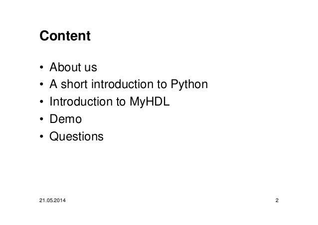 FPGA Design with Python and MyHDL Slide 2
