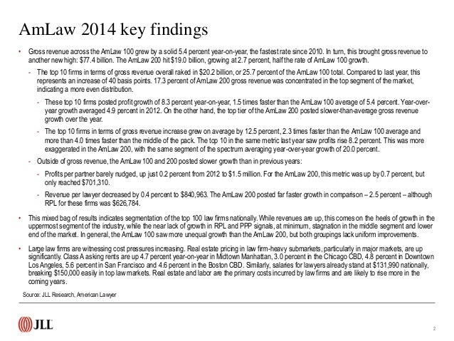 AmLaw 100 and 200 overview: State of the law firm industry (2014) Slide 3