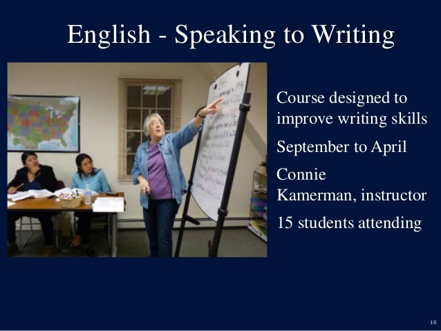 10 English - Speaking to Writing  Course designed to improve writing skills  September to April  Connie Kamerman, instr...