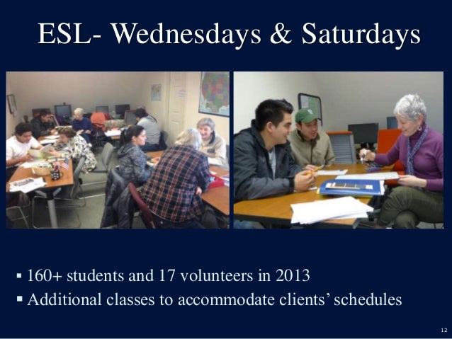 12 ESL- Wednesdays & Saturdays  160+ students and 17 volunteers in 2013  Additional classes to accommodate clients' sche...