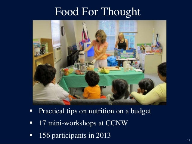 17 Food For Thought  Practical tips on nutrition on a budget  17 mini-workshops at CCNW  156 participants in 2013