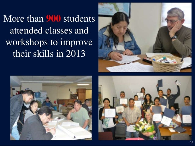 19 More than 900 students attended classes and workshops to improve their skills in 2013