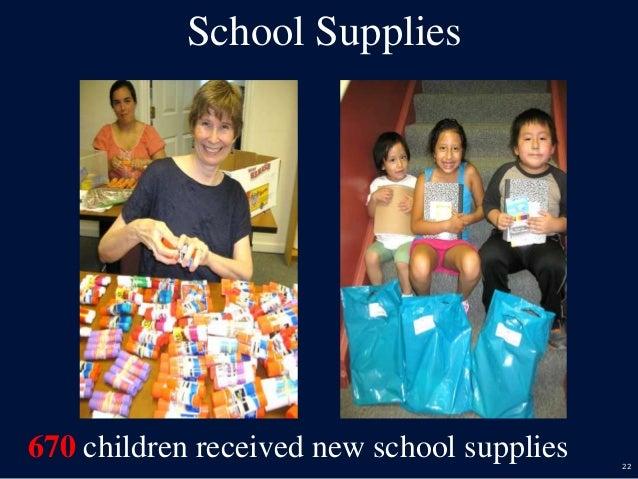 22 School Supplies 670 children received new school supplies