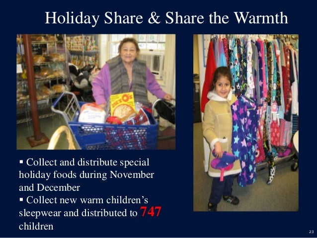 23 Holiday Share & Share the Warmth  Collect and distribute special holiday foods during November and December  Collect ...