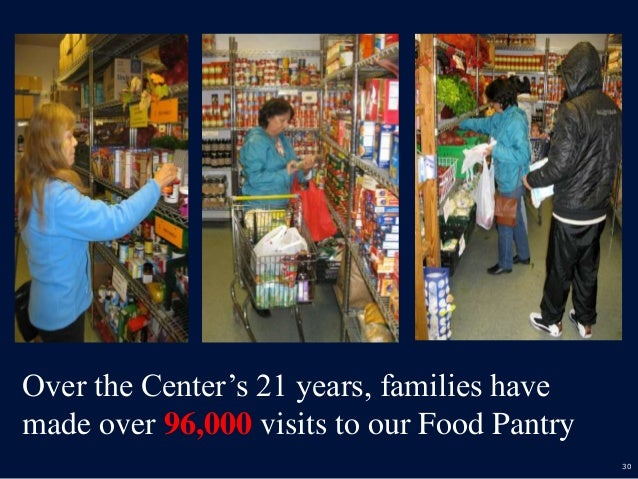 30 Over the Center's 21 years, families have made over 96,000 visits to our Food Pantry