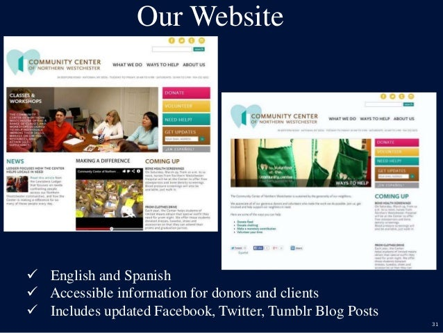 31 Our Website  English and Spanish  Accessible information for donors and clients  Includes updated Facebook, Twitter,...