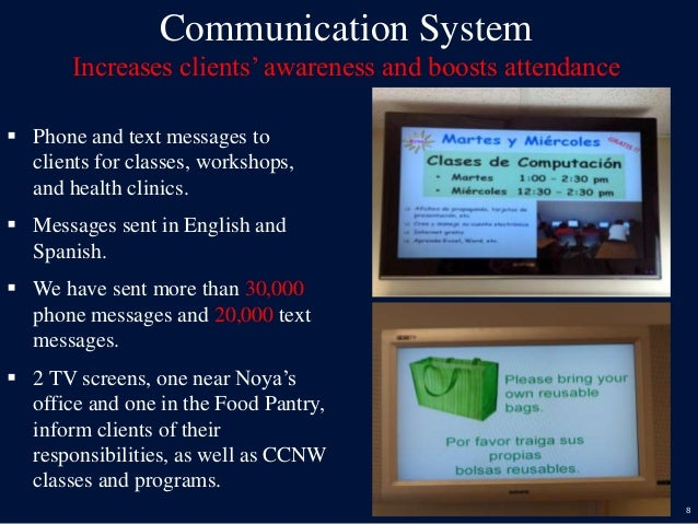 8 Communication System Increases clients' awareness and boosts attendance  Phone and text messages to clients for classes...