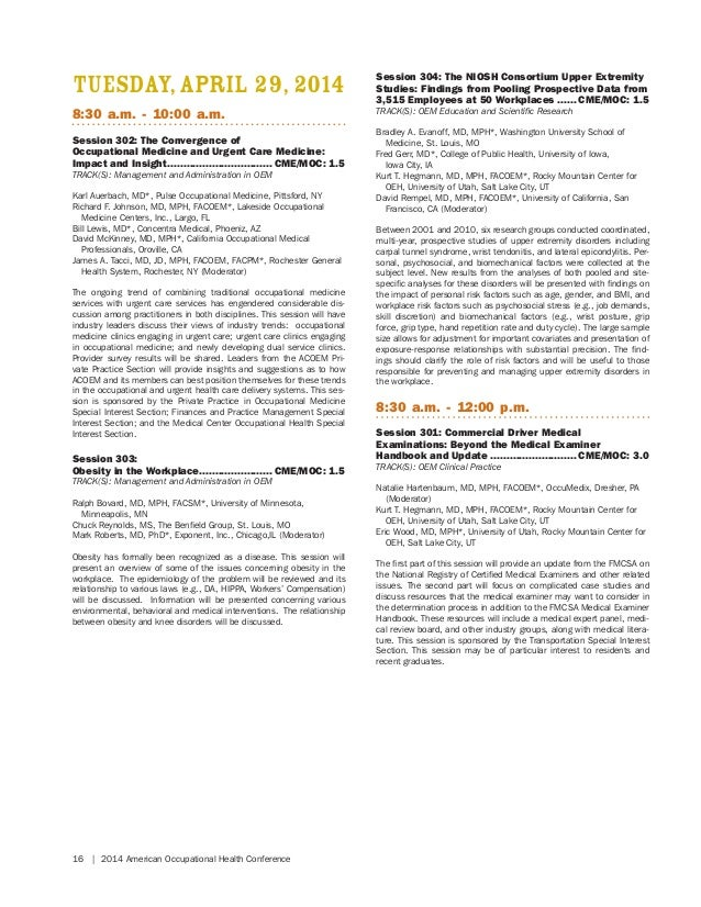 2014 American Occupational Health Conference (AOHC) Program