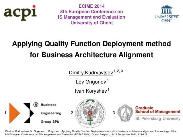 Applying Quality Function Deployment method  for Business Architecture Alignment  Dmitry Kudryavtsev  Lev Grigoriev  Ivan ...
