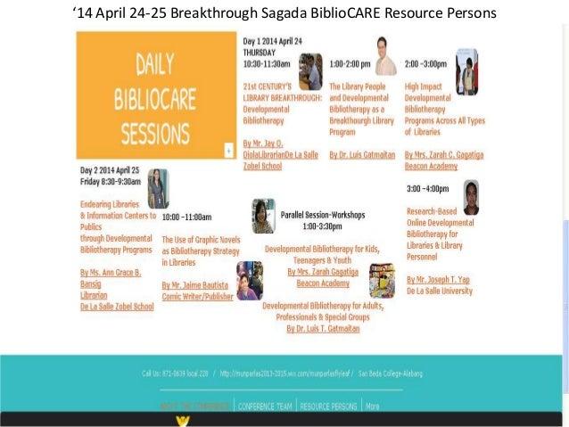 '14 April 24-25 Breakthrough Sagada BiblioCARE Resource Persons