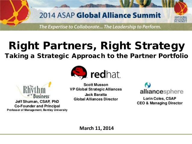 Right Partners, Right Strategy Taking a Strategic Approach to the Partner Portfolio Scott Musson VP Global Strategic Allia...