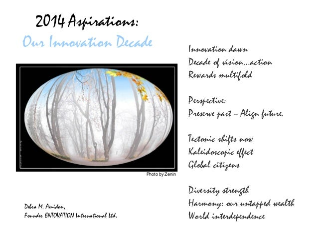 2014 Aspirations: Our Innovation Decade  Innovation dawn Decade of vision…action Rewards multifold Perspective: Preserve p...