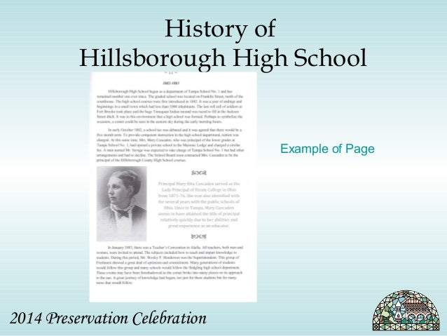 History of  Hillsborough High School  2014 Preservation Celebration  Example of Page