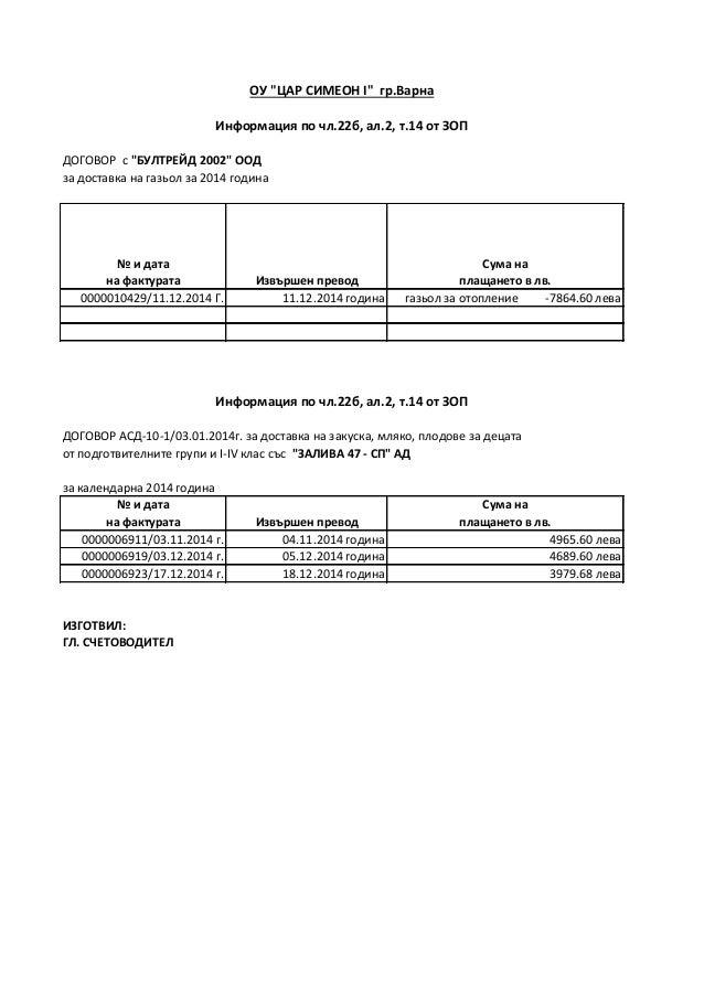 """ДОГОВОР с """"БУЛТРЕЙД 2002"""" ООД за доставка на газьол за 2014 година № и дата на фактурата Извършен превод Сума на плащането..."""