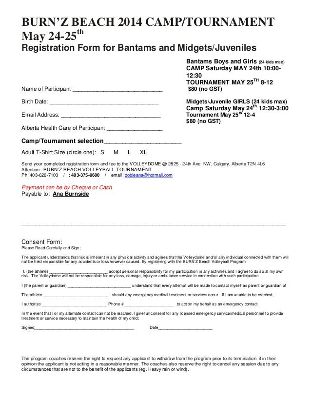 BURN'Z BEACH 2014 CAMP/TOURNAMENT May 24-25th Registration Form for Bantams and Midgets/Juveniles Bantams Boys and Girls (...