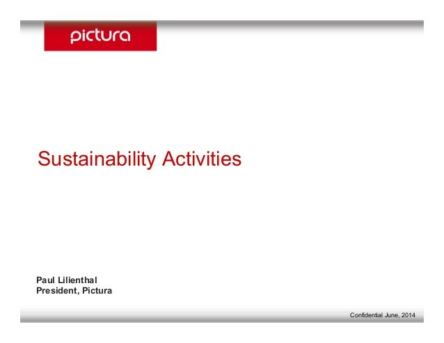 2008 - 2009 Sustainability Activities Paul Lilienthal President, Pictura Sustainability Activities Confidential June, 2014