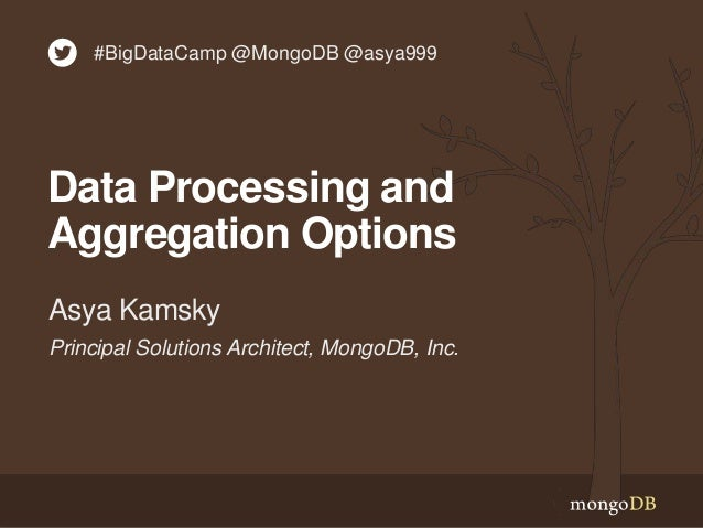 Principal Solutions Architect, MongoDB, Inc. Asya Kamsky Data Processing and Aggregation Options #BigDataCamp @MongoDB @as...