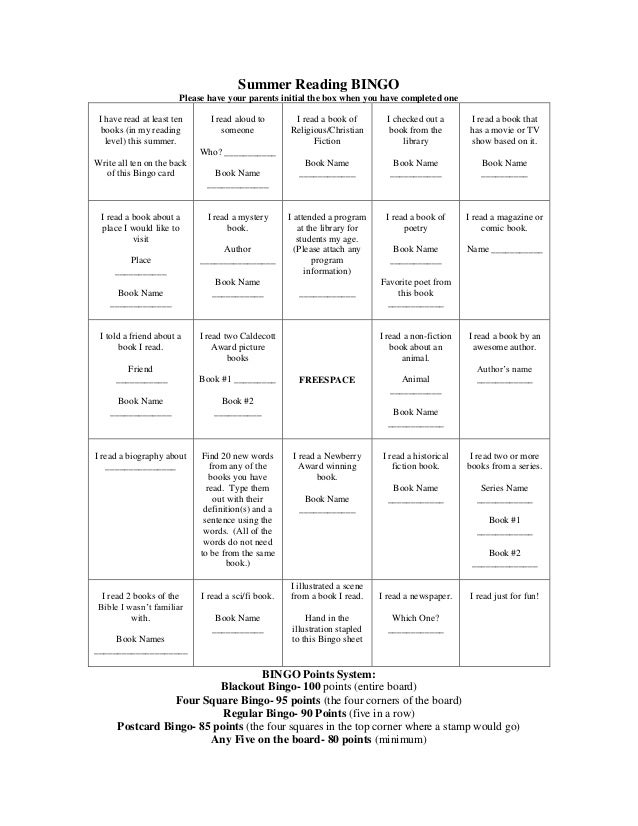 Summer Reading BINGO Please have your parents initial the box when you have completed one I have read at least ten books (...