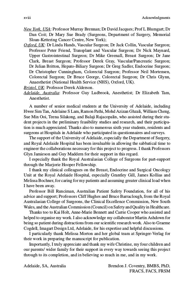 xxi Contributors Brendon J. Coventry, BMBS, PhD, FRACS, FACS, FRSM Discipline of Surgery, Royal Adelaide Hospital, Univers...