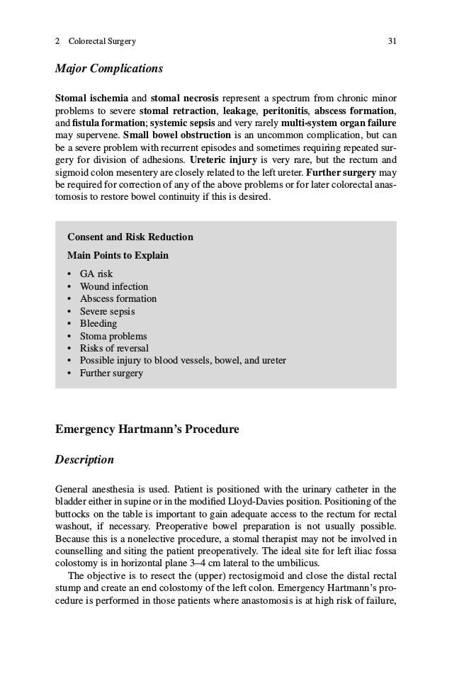 34 Table 2.10 Emergency Hartmann's procedure estimated frequency of complications, risks, and consequences Complications, ...